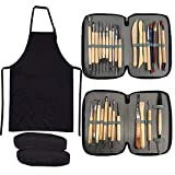 Clay Sculpting Tools,YZNlife Set of 30 Pottery Tools Clay Modelling Tools Kit Wood Clay Carving Tools Set with Storage Bag,Apron and Sleeves