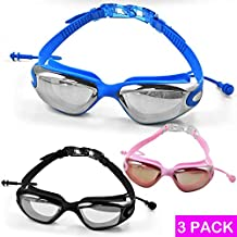 Swimming Goggles, Monojoy Swim Goggles Glasses [Anti Fog] [UV Protection] [Anti Shatter] [No Leaking] Triathlon Mirrored Adjustable Strap Ear Plugs for Adult Men Women Youth