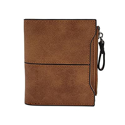 Mynos Leather Short Wallet For Women Zipper Clutch Card Holder Bifold Coin Small Purse For Girls