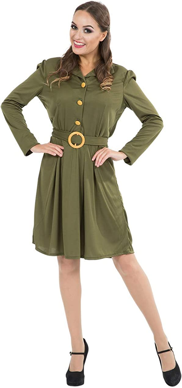 1940s Style Girls Army Fancy Dress Costume M L XL War Time Military Soldier