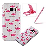 TPU Case for Samsung Galaxy S7 Edge,Clear Case for Samsung Galaxy S7 Edge,Herzzer Ultra Slim Stylish [Cute Flamingo Pattern] Soft Silicone Gel Bumper Cover Flexible Crystal Transparent Skin Protective Case for Samsung Galaxy S7 Edge + 1 x Free Pink Cellphone Kickstand + 1 x Free Pink Stylus Pen