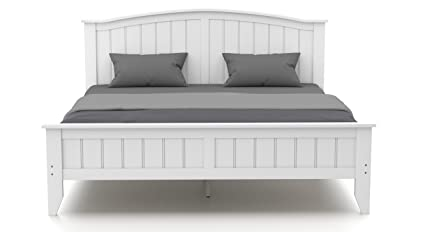 Urban Ladder Wichita Rubber Wood King Size Double Bed White