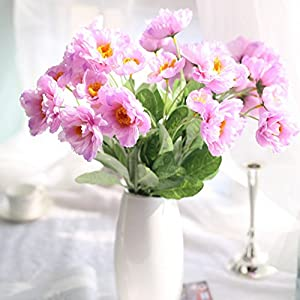 Skyseen 12 Bouquets 2 Heads Artificial Rosemary Poppy Flowers for Home Wedding Party Decor,Pink 15