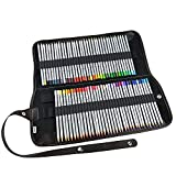 Ipow 72 Assorted Color Marco Raffine Drawing Art Colored Pencils Supplies with Roll UP Washable Canvas Pencil Bag Pouch Wrap Set for Artist Sketch, 2 Direction Buckle for Different Usage