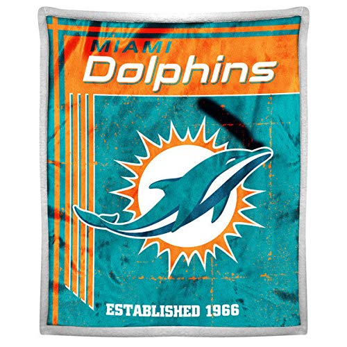 The Northwest Company Officially Licensed NFL Miami Dolphins Old School Mink Sherpa Throw Blanket, 50