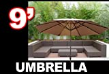New 9′ FT Patio Outdoor Beach Market Sun Aluminum Umbrella w/ Crank Shade (Tan) For Sale