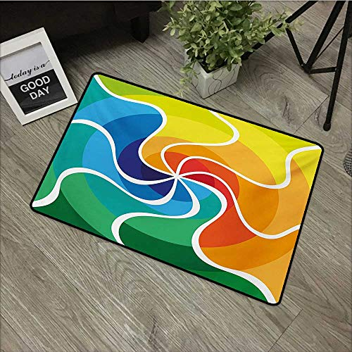 Hall mat W31 x L47 INCH Psychedelic,Rainbow Colored Spiral Gradient Wind Rose Psychedelic Display Surreal Artisan,Multicolor Our Bottom is Non-Slip and Will not let The Baby Slip,Door Mat Carpet