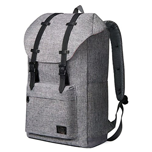 Backpack Laptop Canvas Retro Student Gray Travel black Hiking FqgRxnx4w