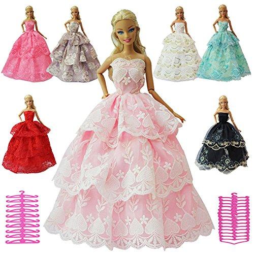 12 PCS Barbie Clothes & Accessories Set | Prom Wedding Dress & Hangers by ZITA ELEMENT, RANDOM STYLE (Accessories Prom Shoes)