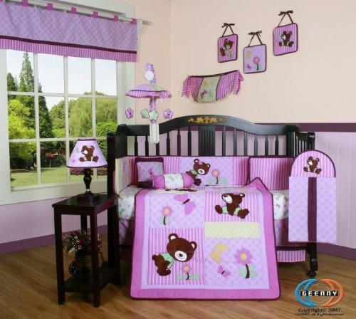 Boutique Girl Teddy Bear 13PCS CRIB BEDDING SET