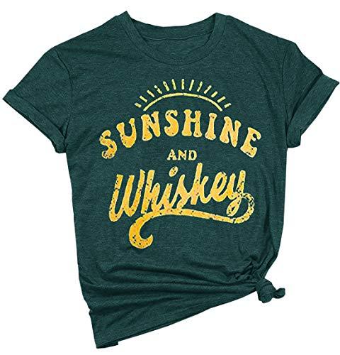 IRISGOD Womens Country Shirts Sunshine and Whiskey Cute Graphic Tees Summer Short Sleeve Cotton T-Shirts Dark Green