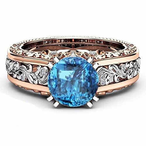 White Rose Ring (10mm Round Cut Rose & White Gold Plated Champagne & White Topaz Bridal Engagement Two Tone Gold Ring Size 5-10 (Blue, 8))