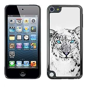Cubierta de la caja de protección la piel dura para el APPLE IPOD TOUCH 5 - Cool Snow Leopard Black White Animal Cat