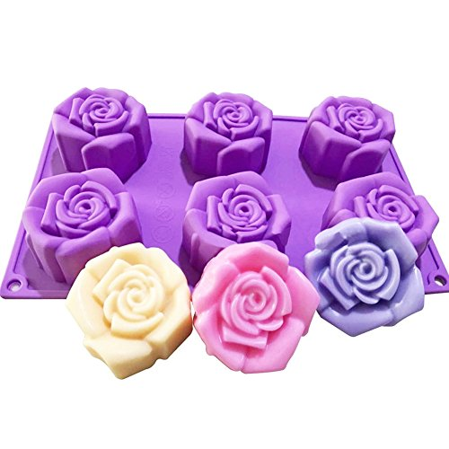 WYD 6 Holes Rose Silicone Molds Chocolate Cake Jelly Candle Mold Handmade Soap Molds