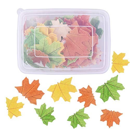 YoungRich 111PCS Edible Maple Leaves Wafer Paper Cupcake Toppers Pre-Cut Glutinous Rice Paper Autumn Themed Birthday Party Toppers for Cake Cookies Ice Cream Food Fruit Decoration Green Yellow Brown