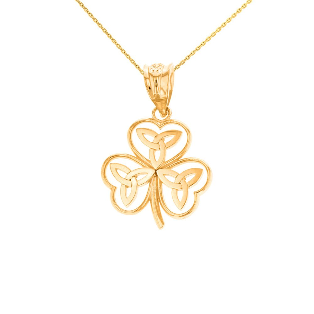 14k Yellow Gold Irish Shamrock Pendant Necklace with Celtic Trinity Knot, 20''