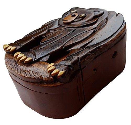 Handmade Wooden Art Intarsia TRICK SECRET Standing Black Bear Symbol Trinket Puzzle Box (5107) - Standing Black Bear
