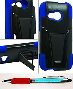 Accessory Factory(TM) Bundle (the item, 2in1 Stylus Point Pen) HTC M8 MINI Hybrid Case w Stand Blue