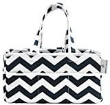 Strong Washable Baby Diaper Caddy: 100% Cotton Canvas - Portable Chevron Nursery Storage Bin and Car Organizer by Gracie and Belle (Navy Blue Chevron)