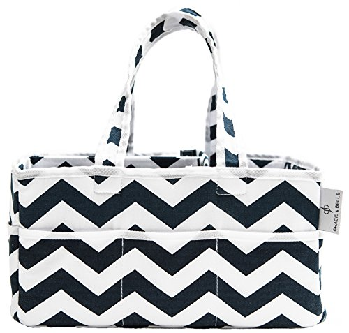 Strong Washable Baby Diaper Caddy: 100% Cotton Canvas - Portable Chevron Nursery Storage Bin and Car Organizer by Gracie and Belle (Navy Blue Chevron) by Gracie and Belle
