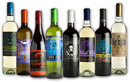 Halloween Glow in the Dark Wine Bottle Label Stickers (8 (Clearance Halloween Costumes Under $20)
