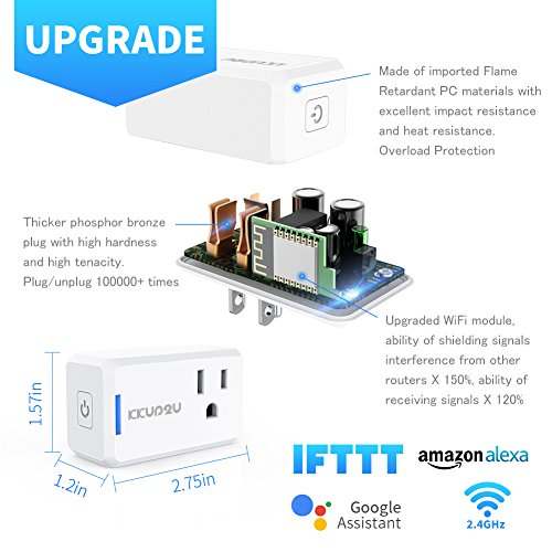 Smart Plug 4-Pack Upgraded Mini WiFi Smart Socket Outlet Work with Amazon Alexa Echo/Google Assistant and IFTTT, No Hub Required by KKUP2U by KKUP2U (Image #1)