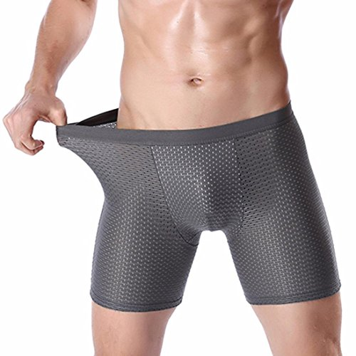 Price comparison product image Goddessvan Men's Sports Underpants Ice Silk Boxer Underwear, Anti Grinding Leg / Lengthen (L,  Gray)