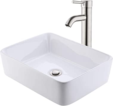 KES Bathroom Vessel Sink with Faucet and Drain Combo Bathroom