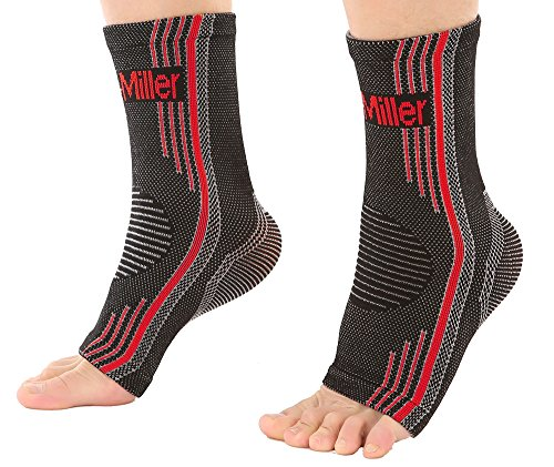 Doc Miller Premium Ankle Brace Compression Support Sleeve Socks for Swollen Foot Plantar Fasciitis Achilles Tendonitis, Use as Injury Support Recovery Eases Pain Swelling 1 Pair (Red, X-Large)