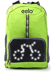 eelo Cyglo - The Folding Outdoor Cycle Backpack for Full Visibility and Awareness. Keeping the Rider Safe from Careless Drivers. Safety Back Pack with Rear LED Signal Display (Blue)
