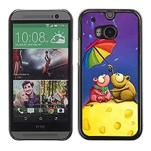 Be Good Phone Accessory // Dura Cáscara cubierta Protectora Caso Carcasa Funda de Protección para HTC One M8 // Cute Love Mouse Couple