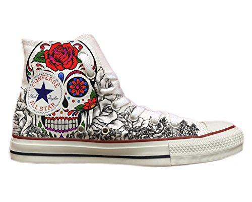 Converse All Skull Bianco Con Stampa Star Personalizzate amp;roses RFPRwqg6