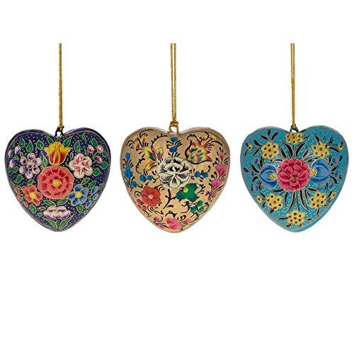 - BestPysanky 3 Flower Hearts Wooden Christmas Ornaments
