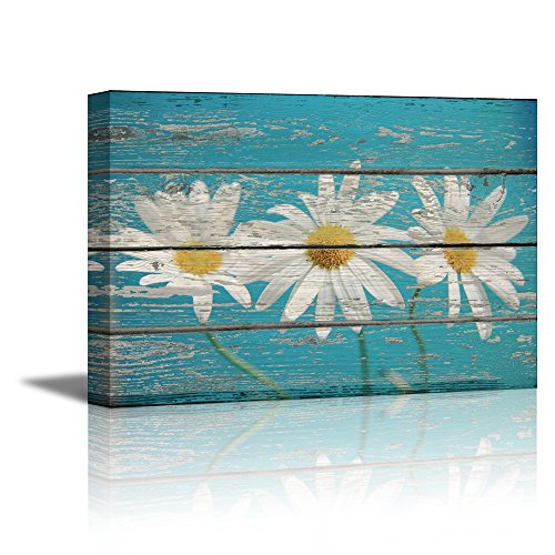 Retro Style Flowers on Sky Blue Vintage Wood Background Rustic ation
