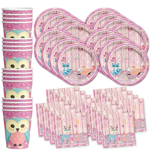 (Girl Woodland Animals Pink Birthday Party Supplies Set Plates Napkins Cups Tableware Kit for)