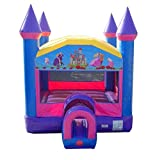 Princess Pink and Purple Bounce House, 14-Foot Long by 14-Foot Wide by 16-Foot Tall with Tunnel Entrance, Modular Inflatable Commercial Backyard Bouncer for Girls, Includes 1.0 HP Blower and Stakes