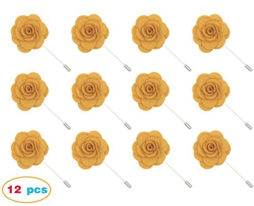 Gellwhu 12pcs Men's Suit Lapel Flower Brooch Pin Rose for Wedding Boutonniere Stick (#8) (Rose Yellow Brooch)