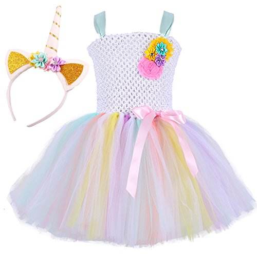 Tutu Dreams Unicorn Flower Girl Dress for Little Girls with Unicorn Headband (Aqua, Large) -
