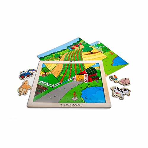 T.S. Shure Farm Animals, Horses & Vehicles Wooden Magnetic Playboard Set