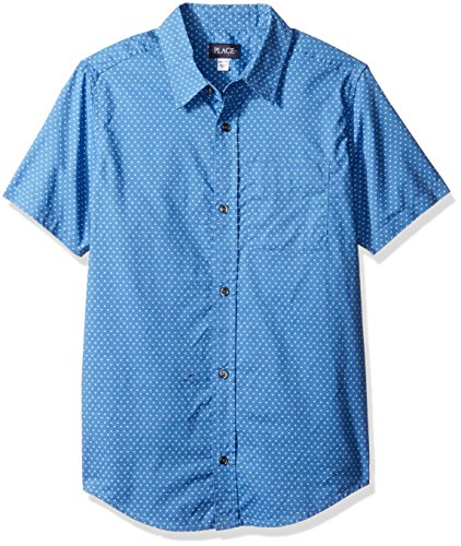 The Children's Place Big Boys' Short Sleeve Button-up Shirt, Boy Thats Blue 0184, M (Boys Formal Shirts)