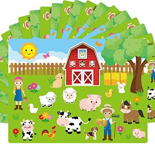 Make A Farm ステッカー シーン 12枚の段ボール背景 子供用 パーティークラフト