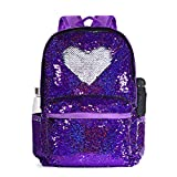 Flippy Sequin Backpack for Girls, Color Change Sparkly Shinning Double Sequins Bag Back Pack for Travel, 17'(H)12¼'(L)4¾'(W) (Model1-Shining Purple/Silver)