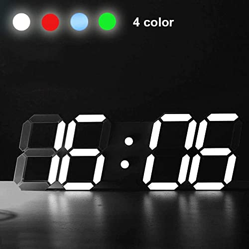 decorhomium Original Modern Wall Clock Digital LED Table Clock Watches 24 or 12-Hour Display Clock Mechanism Alarm Snooze Desk Alarm Clock