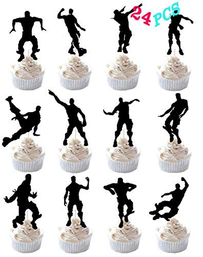 Game Birthday Cake Toppers, Game Party Supplies 24 Pcs DIY Cake Decorations Dance Floss Cupcake Toppers for Birthday Party -