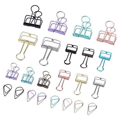 Pangda 15 Pieces Wire Binder Clips Organizers and 50 Pieces Drop Paper Clips with a Storage Box, Assorted Color, Total 65 Pieces (Planner Clips)