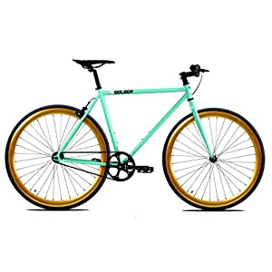 Golden Cycles Fixed Gear Bike Steel Frame Fixie with Deep V Rims Collection (Striker Gold, 48)