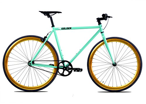 Golden Cycles Fixed Gear Bike Steel Frame Fixie with Deep V Rims Collection (Striker Gold, 52)