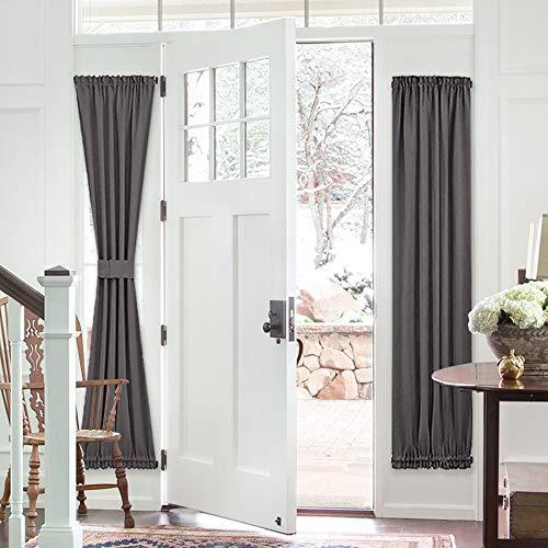 PONY DANCE French Door Curtain - Grey Blackout Drape Energy Saving Thermal Insulated Window Drapery/Front Door Panel Including Bonus Adjustable Tieback, 25 by 72 inch, 1 - Panels Opaque