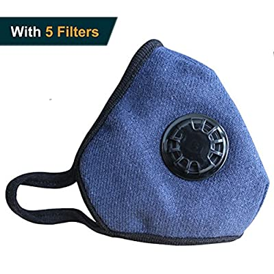 Muryobao Military Grade N99 Mask Washable Cotton Mouth Masks with Valve Replaceable Filter (One Mask + 5 Filters)