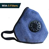 Anti Pollution Mask Military Grade N99 Respirator Mask with Valve Replacement Filter Washable Cotton Anti Dust Mouth Mask for Men Women Navy